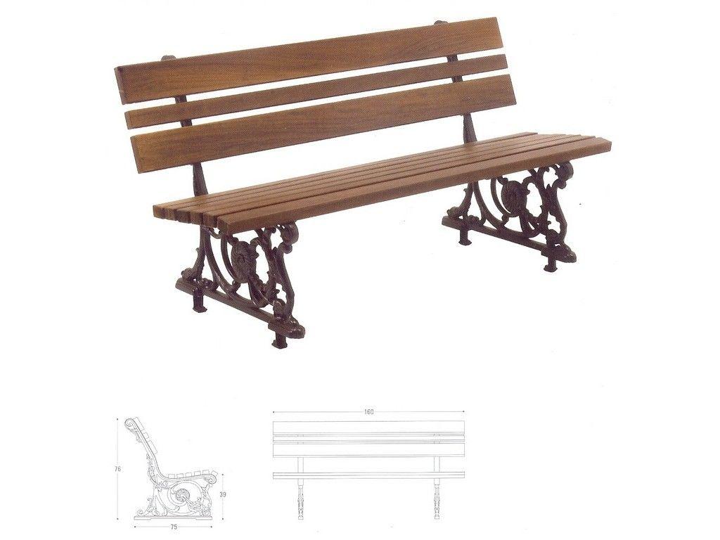 Panchina bologna in ghisa e legno per arredo urbano in for Arredo urbano panchine